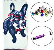 estojo de couro pu padrão cão óculos com caneta e ficha de poeira para Samsung Galaxy S4 mini-i9190
