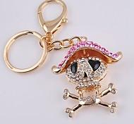 Unisex Alloy Casual Fashion Cute Rhinestone Skull Key Chains