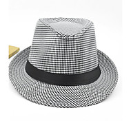 Unisex Houndstooth Pinched Crown Ribbon White Fedora Hat