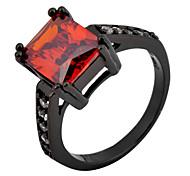 High Quality  Women's Black Gold Square Zircon Elliptic Red Ring