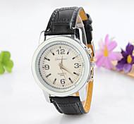 relógio de negócios da moda liga ocasional recurso rodada resistente à água de pulso de quartzo pulseira de couro dos homens (cores
