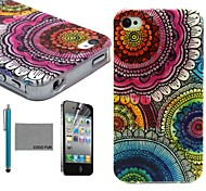 COCO FUN® Floral Tribal Pattern Soft TPU Back Case Cover with Screen Protector and Stylus for iPhone 4/4S