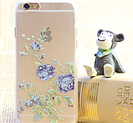 Diamond Purple Flower Painting Transparent Plastic Case for iPhone 6