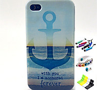 Striped Anchor Pattern with Stylus ,Anti-Dust Plug and Stand TPU Soft Case for iPhone 4/4S