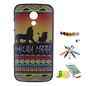 Lion Pattern PC Material After The Shell And Stylus Pen Dust Plug Bracket Assembly for Motorola G2