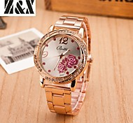 Women's Fashion Diamond Rose Mirror Quartz Analog Steel Belt Watch