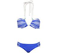 Winmax® Women Blue Nylon & Spandex Sexy Navy Strape Printing Bikini Swimwear