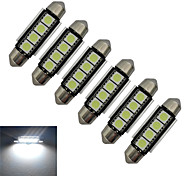 Luces Decorativas Festoon 1.5W 4 SMD 5050 80-90lm LM Blanco Fresco DC 12 V 6 piezas