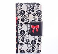 caso de corpo inteiro negro padrão de flores bowknot couro pu com slots de cartão e stand para Samsung Galaxy j1