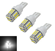 JIAWEN® 3pcs T10 3W 10X7020SMD 210LM 6000-6500K Cool White LED Car Light (DC 12V)