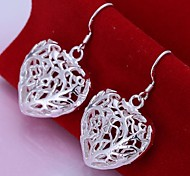 European Hollow Heart Shape 925 Silver Drop Earrings(2Pc)