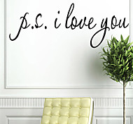 I Love You English Letter PVC Wall Sticker