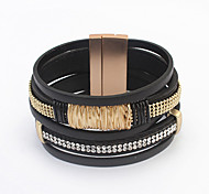 European Style Retro Imitation Braided Leather Multilayer Magnet Clasp Diamond Bracelet