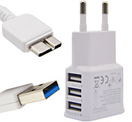 2A EU Three USB Mobile Phone Charger + Note 3 1M data lines For Samsung