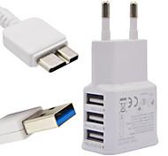 2a eu trois usb chargeur de téléphone mobile + 1m note 3 lignes de données pour Samsung