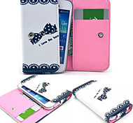 Beautiful Bow Leather Wallet style Full Body Case and Card Slot for Iphone Mobile Size<13.8*7.6*2.1