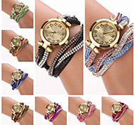 Women's  Small  Round  Dial Colors  Diamante Hemp Flowers Circuit   Flocking  Band Quartz  Watch (Assorted Color)C&d312 Cool Watches Unique Watches