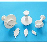 quatre c feuille de houx coupeurs décoration de gâteaux de piston, coupe sugarcraft de piston, outils gâteau de décoration, 3pcs / set