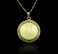 18K Real Gold Plated Allah Muslim Mosque Hollow Out Pendant 3.5*4.6CM