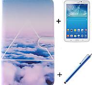 der Himmel Wolken Muster PU-Leder Ganzkörper-Fall mit Film und Kapazität Stift für Samsung Galaxy Tab P3200 3