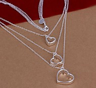 925 Silver Three Hearts Statement  Necklace (1 Pc)
