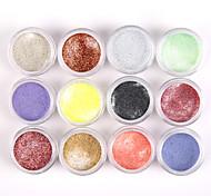 12pcs glitzernden Nail Art Acrylfarben Pulver leuchtenden Nagel Bildhauerei Carving uv Malerei Staub für Salonnageldekorationen