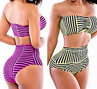 Color Striped waist Sexy Swimsuit With a Chest Pad and Steel Ring 2 Color to Choose