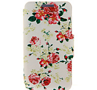 Kinston® Large and Small Red Flowers Pattern PU Leather Full Body Cover with Stand for Huawei P8