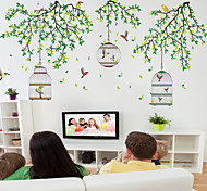 Wall Stickers Wall Decals, Natural Birds Tree PVC Wall Stickers