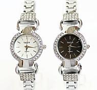 Bicyclic Diamond Drill Steel Bracelet Watch for Women