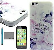 coco Fun® Leben ist schön Muster weichen tpu Fallabdeckung mit Displayschutzfolie und Schreibkopf für iphone 5c