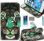 COCO FUN® Tigers Tribal Pattern PU Leather Case with Screen Protector and Stylus for iPhone 5/5S