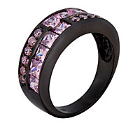 fashion women's Black gold AAA zircon Pink Sapphire ring