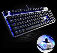 FL·ESPORTS USB Wired Blue Backlight Black shaft Mechanical Armor GT104 Gaming Keyboard(Black)