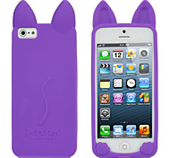 Cute Cat Style Protective Silicone Back Case for Iphone 5 - Purple