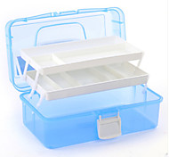 Nail Art Tool Box Multi Utility Storage 3 Layer Plastic Case (Random Color,33*20*14.5CM)