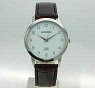 caja de la aleación analógica de los hombres dial redondo pu hombres reloj de cuarzo banda de los hombres del reloj del reloj del regalo