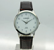 Men's Analog Alloy Case Round Dial PU Band Quartz Watch Men's Watch Men Business Watch Gift Watch