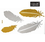 1Pc Gold and Silver Feathers Flower Tattoo Sticker 15x9CM