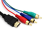 5FT 1.5M 1080P HDMI Male to 3 RCA Video Audio AV Adapter Cable for HDTV DVD