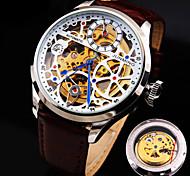 Männer neue Diamantzifferblatt Lederarmband wasserdicht arbeiten mechanische Uhr (verschiedene Farben)