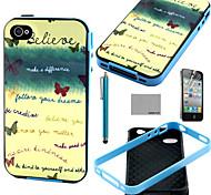 Coco fun® acreditar em mim mesmo padrão TPU macio tampa da caixa traseira com protetor de tela e caneta para iPhone 4 / 4S
