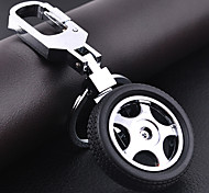 Stainless Steel Tire Rotation Key Chain Ring Keyring(Random Color)