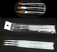 3PCS  Nail Art Brushes With Acryl Handles