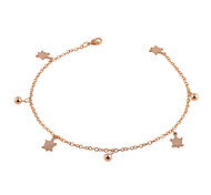 Distinctive Stainless Steel 18K Yellow Gold Plated Tortoises And Beads Charm Bracelet/Anklet Fashion Foot Chains