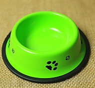 High Quality Footprint Pattern Stainless Steel Bowl for Pet Dogs Random Colour  Size:10.5*15*3.5
