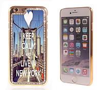 behalten Sie Ruhe und leben in New York Design-Luxus-Hybrid-Bling Funkeln-Schein mit Kristallrhinestone-Kasten für iPhone 6