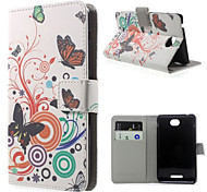 For Sony Case Wallet / Card Holder / with Stand / Flip Case Full Body Case Butterfly Hard PU Leather Sony Xperia E4G