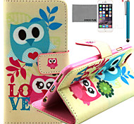 COCO FUN® Cute Lover Owl Pattern PU Leather Case with Screen Protector and Stylus for iPhone 6