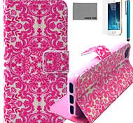 Coco fun® flor rosa padrão de videira estojo de couro pu com protetor de tela e cabo USB e caneta para iPhone 5 / 5s
